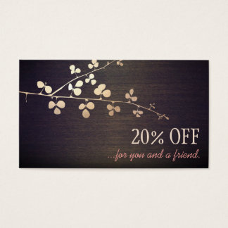 Elegant Zen Gold Branch Salon Customer Referral Business Card