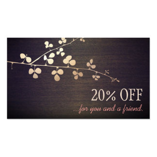 Elegant Zen Gold Branch Salon Customer Referral Pack Of Standard Business Cards