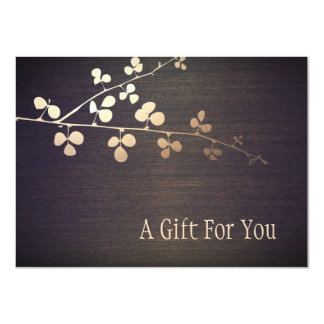 Elegant Zen Gold Branch Spa Gift Certificate Card