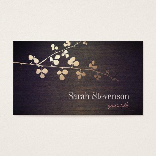 Elegant Zen Gold Branch Wood Nature Business Card