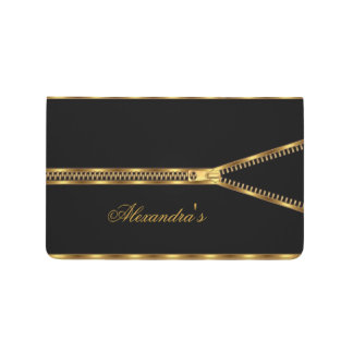 Elegant Zipper Gold Black Girly Journal