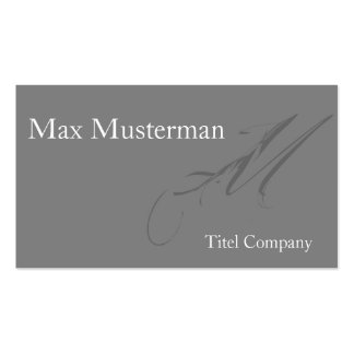 Elegante graue Monogramm Visitenkarte