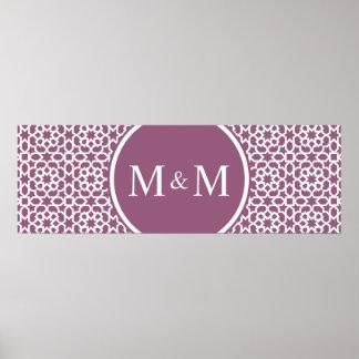 Elegante monograma de geometría púrpura impresiones