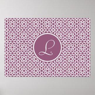Elegante monograma de geometría púrpura poster