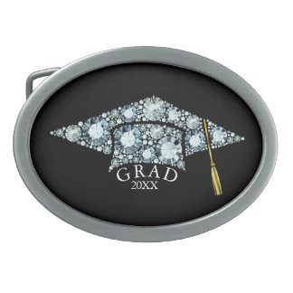 ElegantGrad Hat  Sparkling Diamonds Text Template Belt Buckles