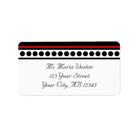 Elegantly Dotted Red Accent Address Labels