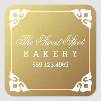 Elegantly Framed Faux Gold Foil Business Stickers