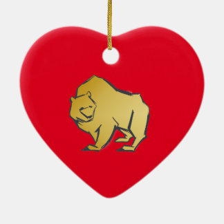 Elegantly Luxurious Gold Bear Ceramic Heart Decoration