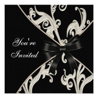 Elegatn Black White Cream Swirl Party Announcement