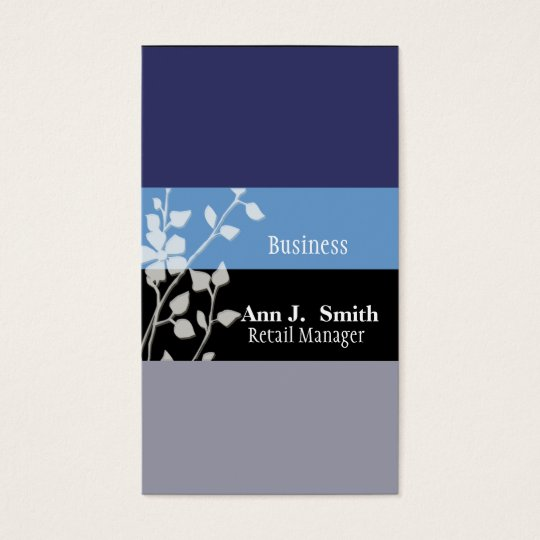 Elelgant Nature Professional Two Blues Floral Business Card