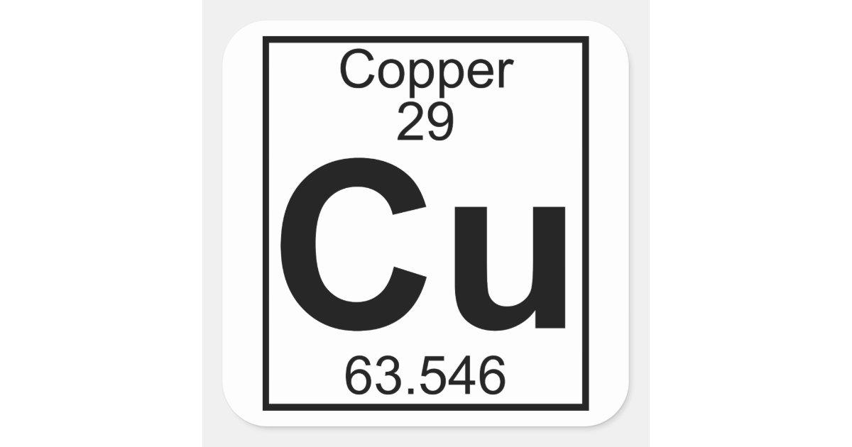 Element 029 Cu Copper Full Square Sticker Zazzle