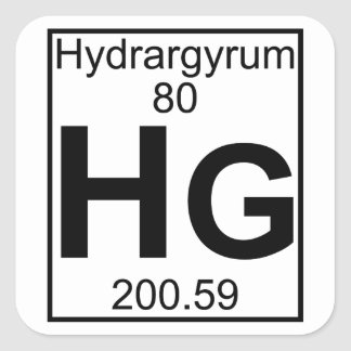 Element 080 - Hg - Hydrargyrum (Full) Square Stickers