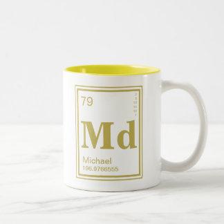 Element of You! Gold Element Custom Name Two-Tone Mug