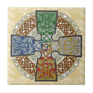 Elemental Celtic Cross Medallion Small Square Tile
