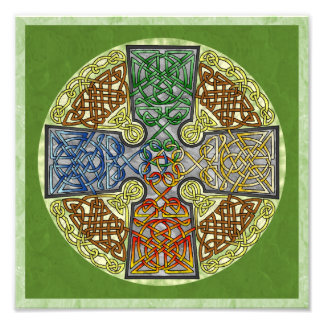 Elemental-Textured Celtic Cross Medallion Photo Print
