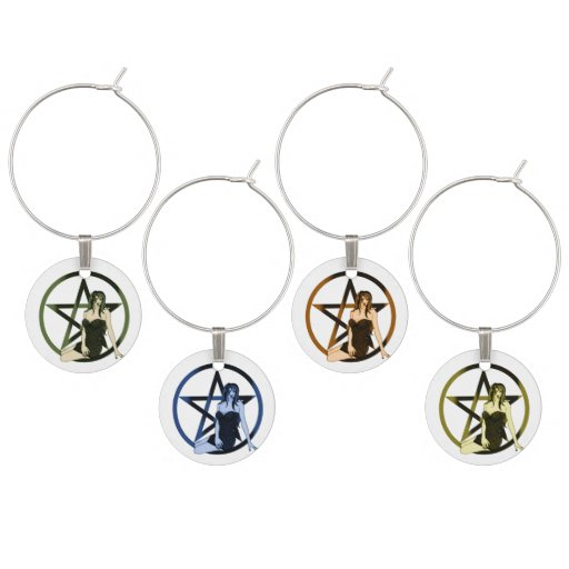 Elemental Witch Pentacle Pagan Goblet Charms Wine Charms