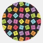 Elementary Periodic (Dark) Round Stickers