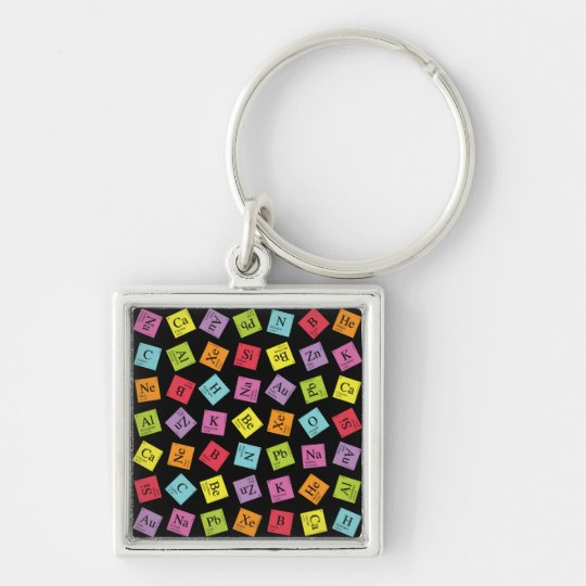 Elementary Periodic (Dark) Silver-Colored Square Key Ring