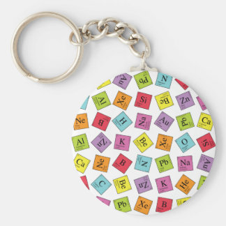 Elementary Periodic Basic Round Button Key Ring