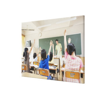 Elementary school students at school 2 canvas print