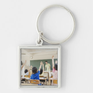 Elementary school students at school 2 key ring