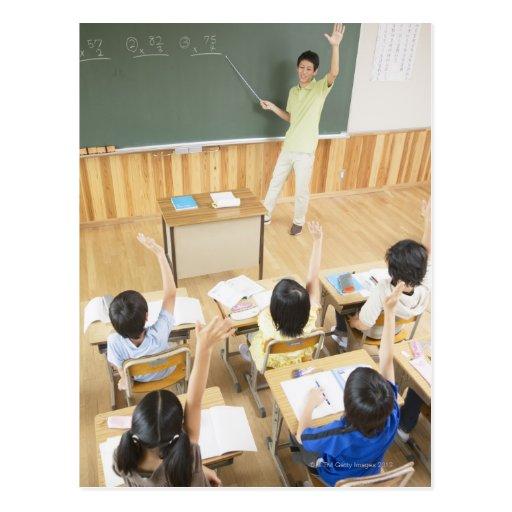 Elementary school students at school postcards