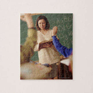 Elementary school students raising their hands jigsaw puzzle
