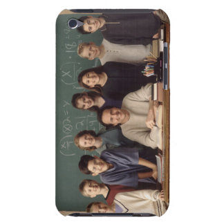 Elementary school students standing behind barely there iPod case