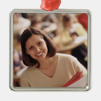 Elementary school teacher Silver-Colored square decoration