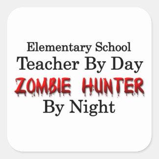 Elementary School Teacher Zombie Hunter Square Stickers