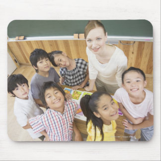 Elementary students and teacher mouse mat