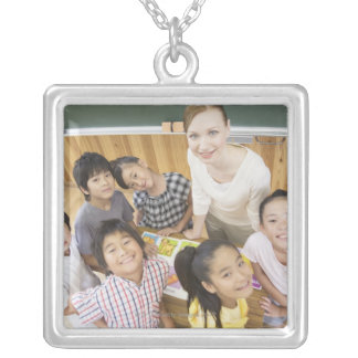 Elementary students and teacher silver plated necklace
