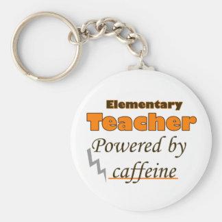Elementary Teacher Powered by caffeine Basic Round Button Key Ring