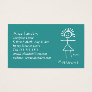 Elementary Tutor Teacher Chalk Stick Figure Business Card