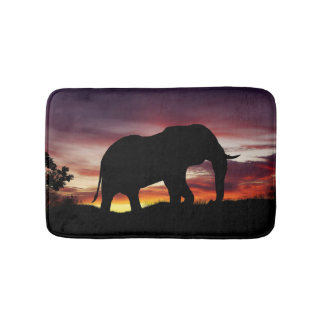 Elephant Africa Safari Sunset Scenery Bath Mats