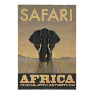 Elephant Africa Safari vintage travel poster