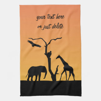 Elephant africa sunset silhouette custom tea towel