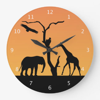 Elephant african sunset silhouette black & orange wall clock