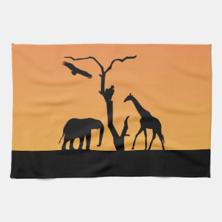 Elephant african sunset silhouette tea towel