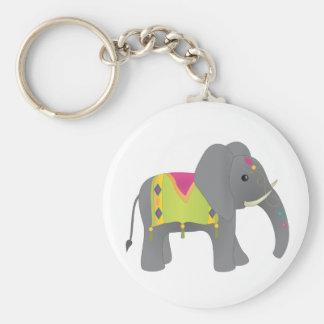 Elephant All Dressed Up Basic Round Button Key Ring