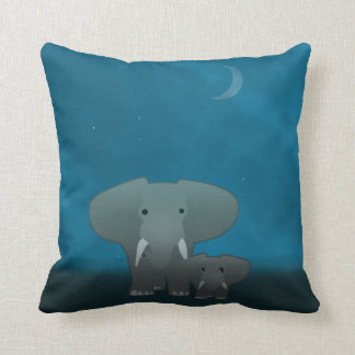 Elephant and a baby at night cushion
