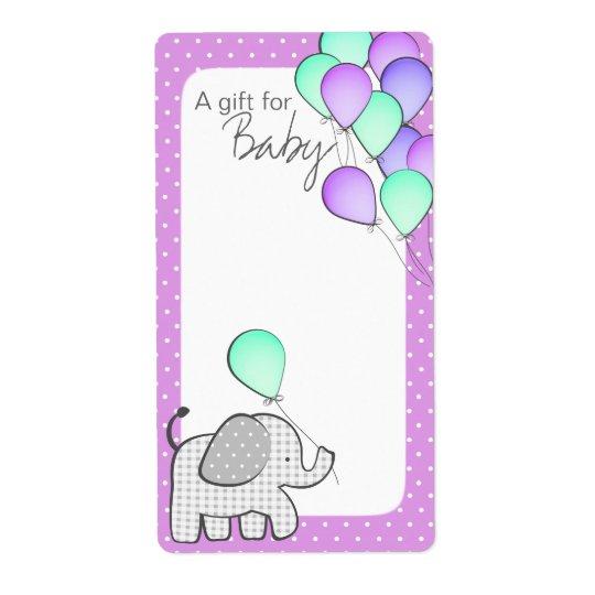 Elephant and Balloons Magenta Polka Dot Book Tags Shipping Label