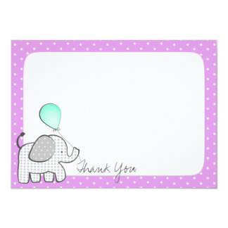 Elephant and Balloons Magenta Thank you 11 Cm X 16 Cm Invitation Card