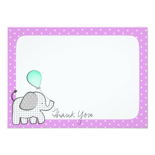 Elephant and Balloons Magenta Thank you Card