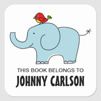 Elephant and Bird Bookplates Square Sticker