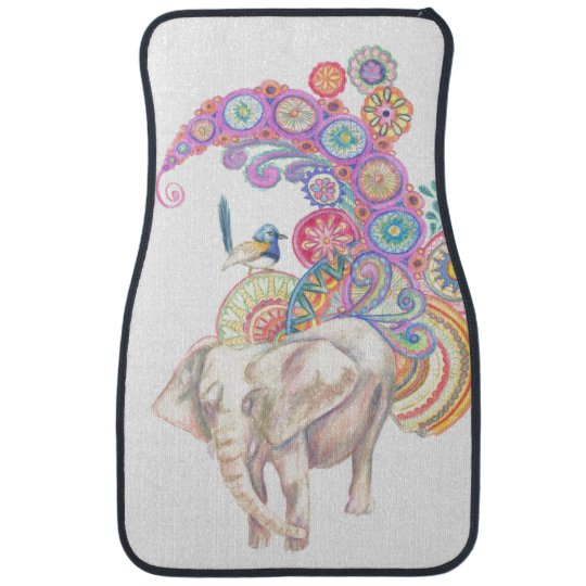elephant and bird car mat