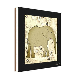 Elephant and Bird Custom art Canvas Print