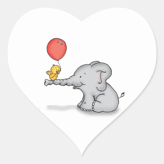 Elephant and Bird Heart Sticker