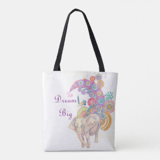 Elephant and bird tote bag