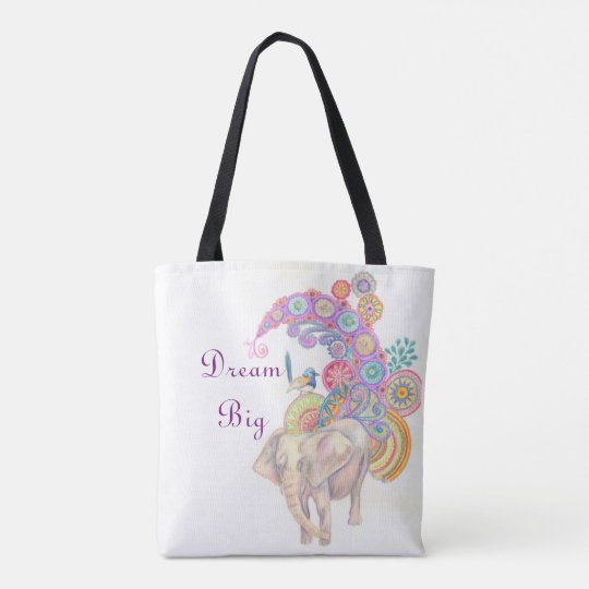 Elephant and bird tote bag
